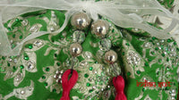 Bright Green Banarsi Brocade With Pink Silk Lining Potli Bag - Indian Suit Company