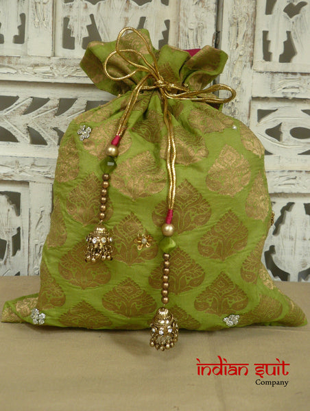 Green Banarsi Silk With Pure Pink Silk Lining Potli Bag - Indian Suit Company