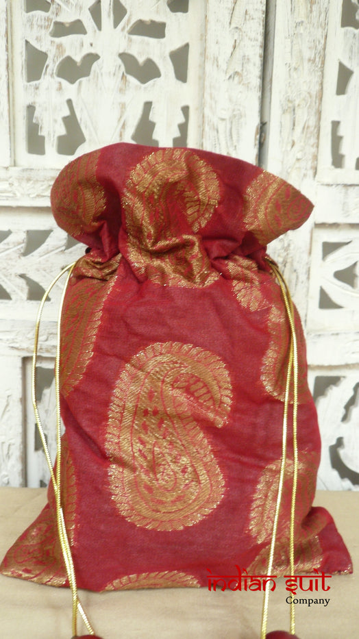 Red Paisley Design Potli Bag With Teal Silk Lining - Indian Suit Company