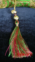 Green Vintage Silk Bag With Pink Lining And Silk Tassels. - Indian Suit Company