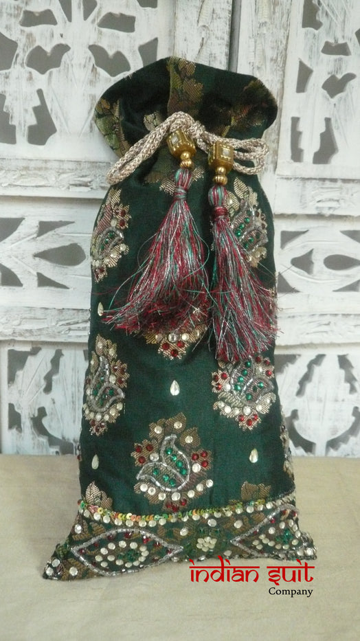Green Jewelled Potli Bag With Maroon Lining - Indian Suit Company