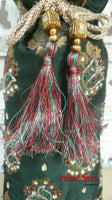 Dark Green Jewelled Potli Bag With Maroon Lining - Indian Suit Company
