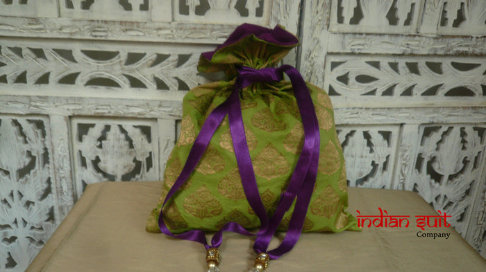 Green Silk With Purple Silk Lining Potli Bag - Indian Suit Company
