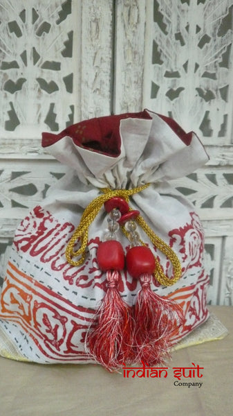 White Printed Cotton With Red Orange And Large Bead Tassels - Indian Suit Company