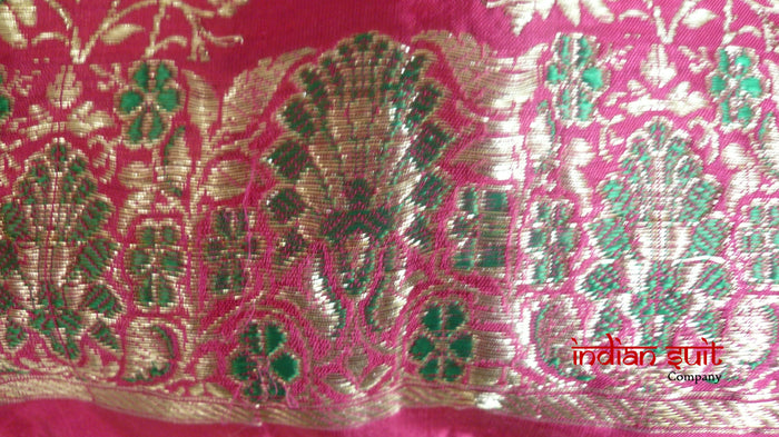Pink Vintage Silk Bag With Green Gold Bells With Green Lining - Indian Suit Company