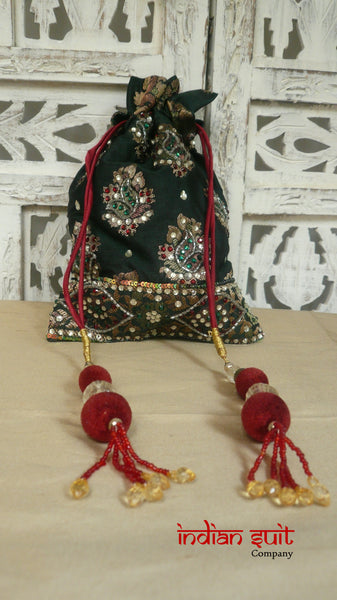 Green Banarsi Beaded Potli With Red Velvet Balls - Indian Suit Company