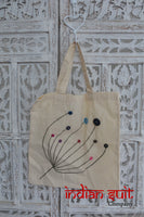 Cream cotton tote bag with button detailing - new