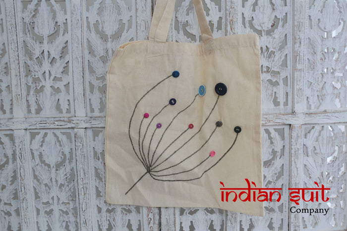 Cream Cotton Tote Bag With Button Detailing - New - Indian Suit Company