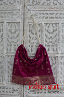 Vintage Magenta Silk Drawstring Bag - New - Indian Suit Company