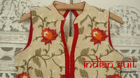 Cream & floral embroidered churidaar suit - UK Size 6/ EU Size 32 - Preloved