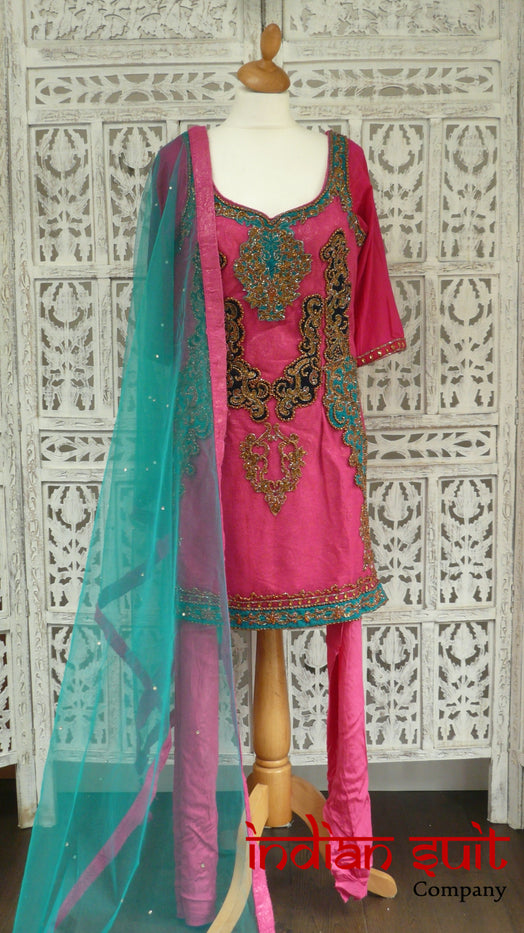 Pink Brocade Layered Churidaar Kameez - UK 14 / EU 40 - New - Indian Suit Company