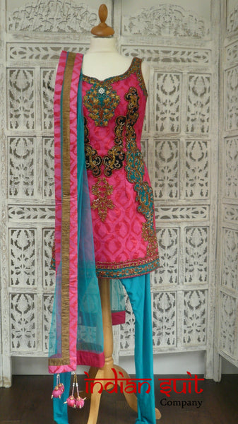 Pink Brocade & Bright Blue Churidaar Suit - UK 10 / EU 36 - New - Indian Suit Company