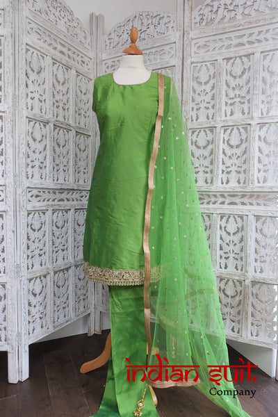 Green Silk Blend Churidaar Suit - UK Size 12 / EU 38 - New - Indian Suit Company