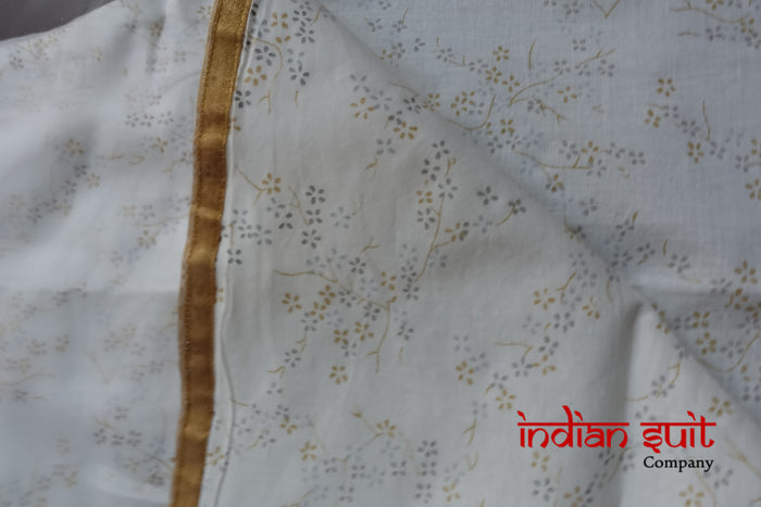 White Voile & Cotton Churidaar - UK 14 / EU 40 - New - Indian Suit Company