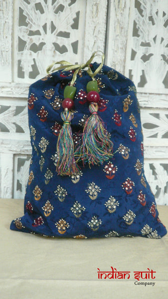 Dark Blue Silk With Multi-Coloured Embroidery And Small Mirror Sequins