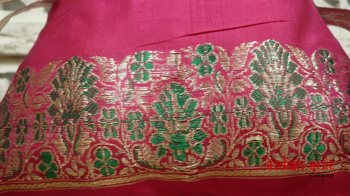 Hot Pink Vintage Silk Potli Bag - Indian Suit Company