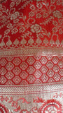 Red Banarsi Silk Long Potli Bag With Rectangular Bead Trim - Indian Suit Company