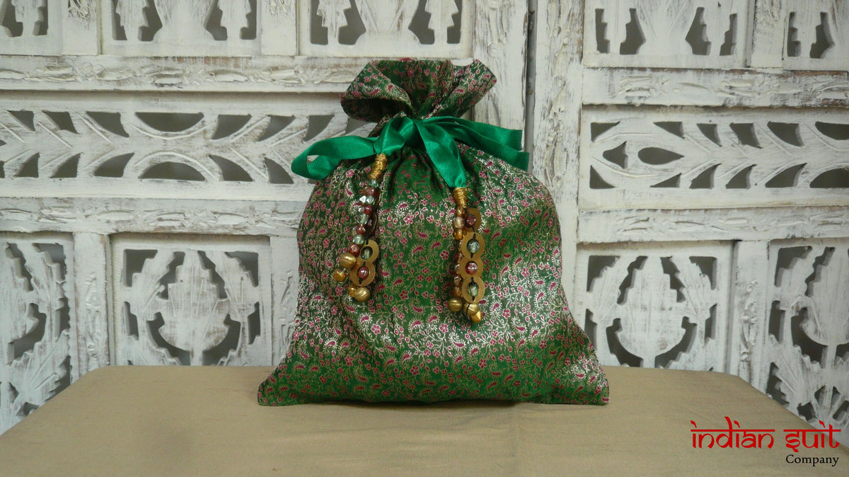 Green Vintage Brocade Potli Bag - Indian Suit Company