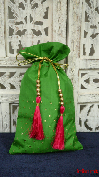 Green Vintage Silk Bag With Pink Silver Lining - Indian Suit Company