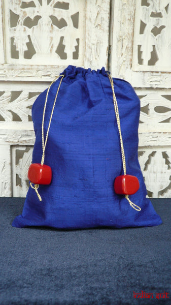 Royal Blue Raw Silk Potli Bag With Red Square Beads - Indian Suit Company