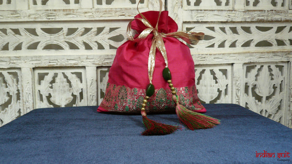 Pink Vintage Silk Potli Bag - Indian Suit Company