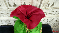 Bright green vintage silk potli bag