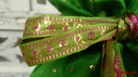 Green Vintage Silk Potli Bag - Indian Suit Company
