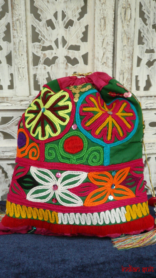 Colourful Vintage Printed Cotton Potli Bag - Indian Suit Company