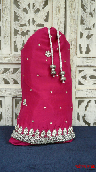 Pink Silk With Silver Work Potli Bag - Indian Suit Company