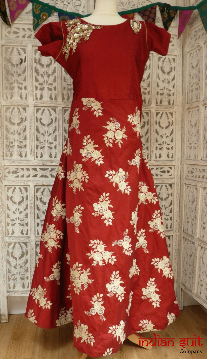 Dark Red Silk Long Gown - UK 14 / EU 40 - New - Indian Suit Company