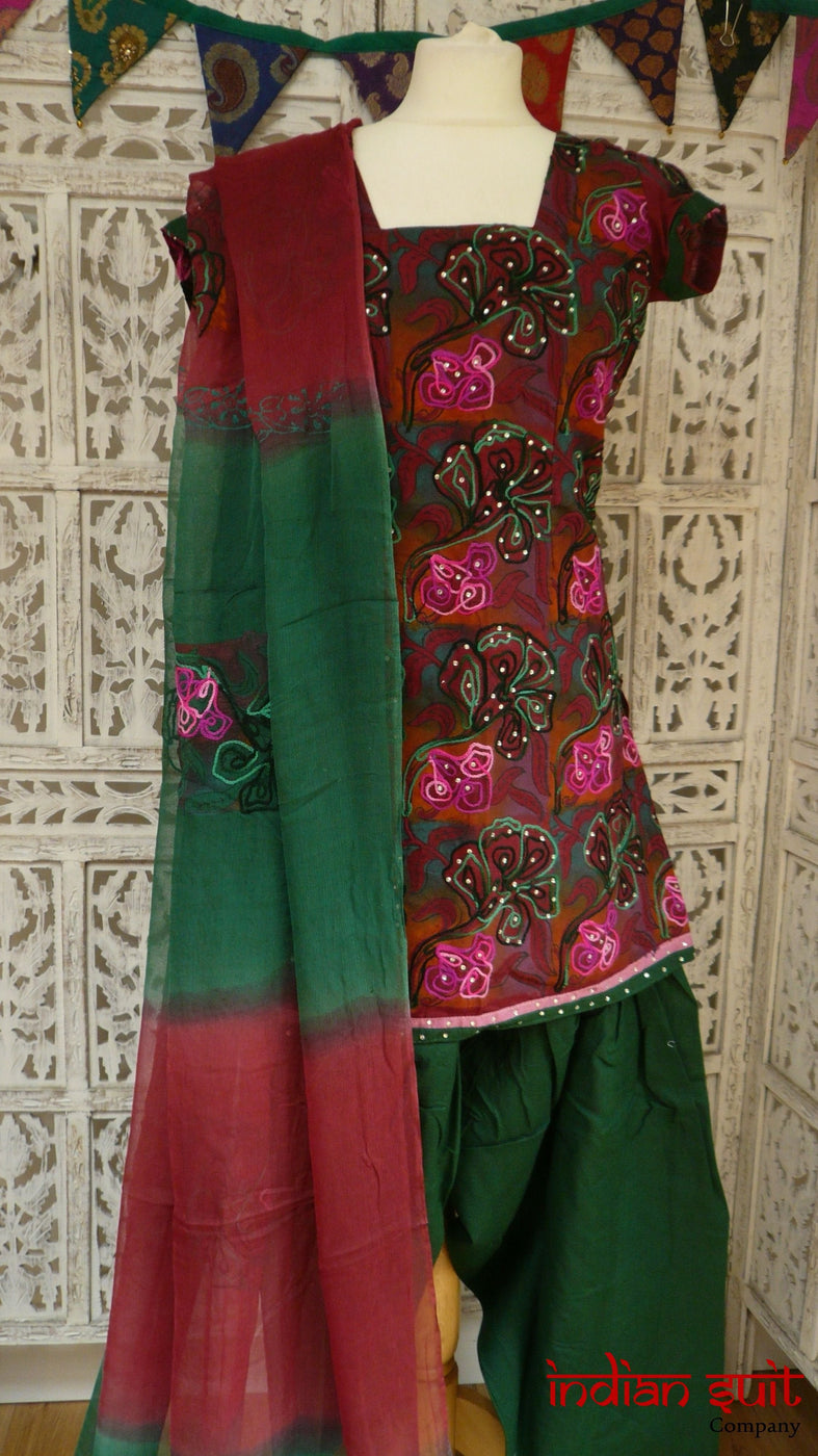 Maroon & Green Cotton Salwar Kameez - UK Size 10 / EU 36 - New - Indian Suit Company