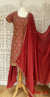 Red Brocade Silk Salwar Kameez - UK 10  / EU 36,  - Preloved - Indian Suit Company
