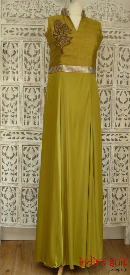 Ochre Gown With Churidaar - UK Size 10 / EU 36 - New - Indian Suit Company