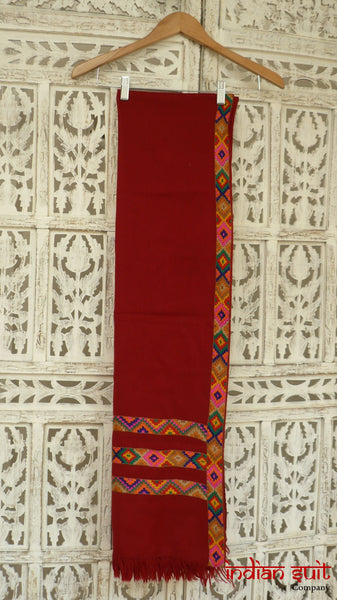 Maroon wool Aztec style embroidered shawl - preloved