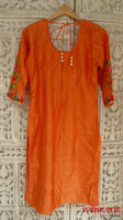 Orange & cream embroidered mirror salwar suit - UK Size 10 / EU Size 36 - preloved