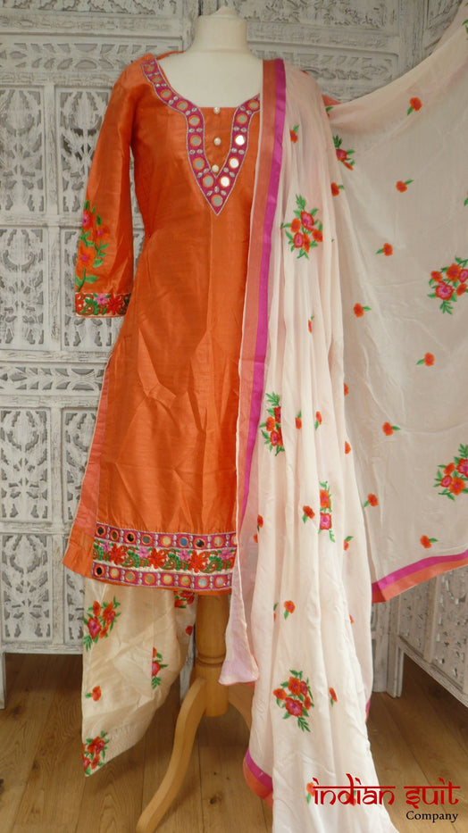 Orange & Cream Embroidered Mirror Salwar Suit - UK Size 10 / EU 36 - Preloved - Indian Suit Company