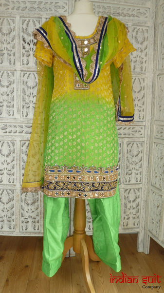 Yellow & green salwar kameez -UK Size 10 / EU Size 36 - Preloved