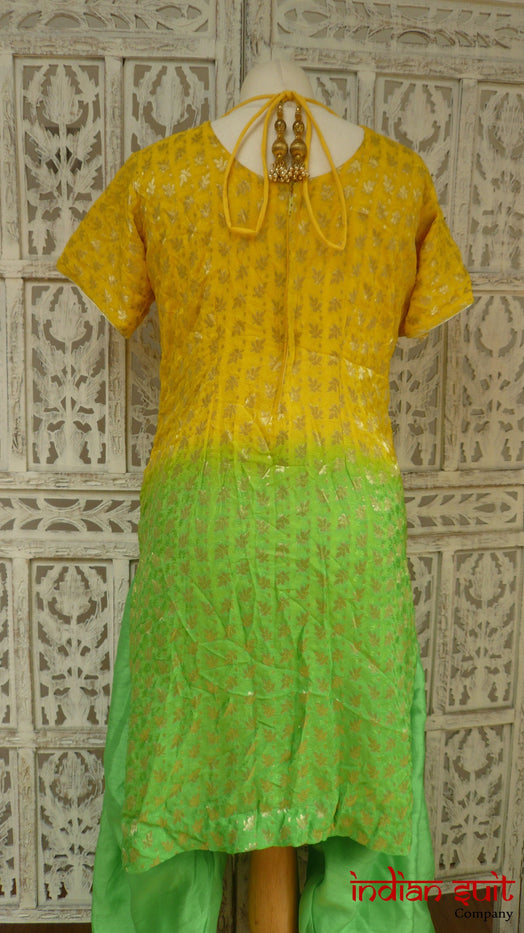 Yellow & Green Salwar Kameez - UK Size 10 / EU 36 - Preloved - Indian Suit Company