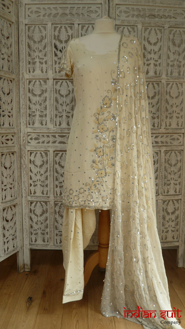 Cream Silk Salwar Kameez With Pearl Beading - UK Size 8 / EU 34 - New - Indian Suit Company