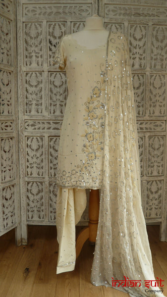 Cream Silk Salwar Kameez With Pearl Beading - UK 8  / EU 34,  - New - Indian Suit Company