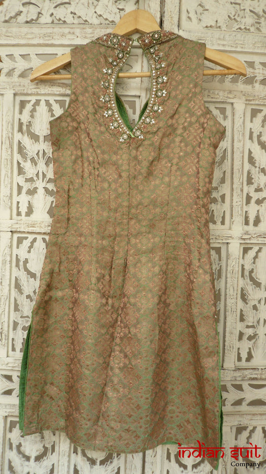 Green Brocade And Silk Salwar Kameez - UK Size 4 / EU 30 - Preloved - Indian Suit Company