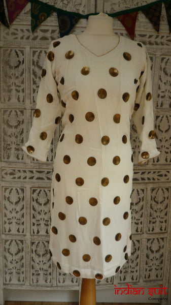 Cream Chiffon Kameez With Gold Sequins UK Size 10 / EU Size 36 - Preloved - Indian Suit Company