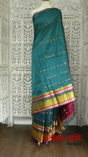 Teal & Purple Vintage Silk Sari - New - Indian Suit Company