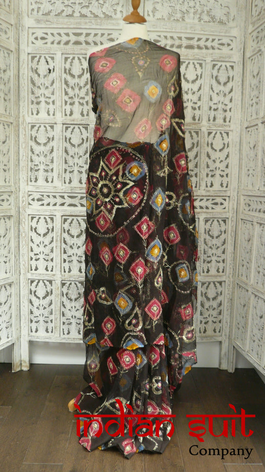 Dark Brown Vintage Printed Chiffon Sari - Preloved - Indian Suit Company