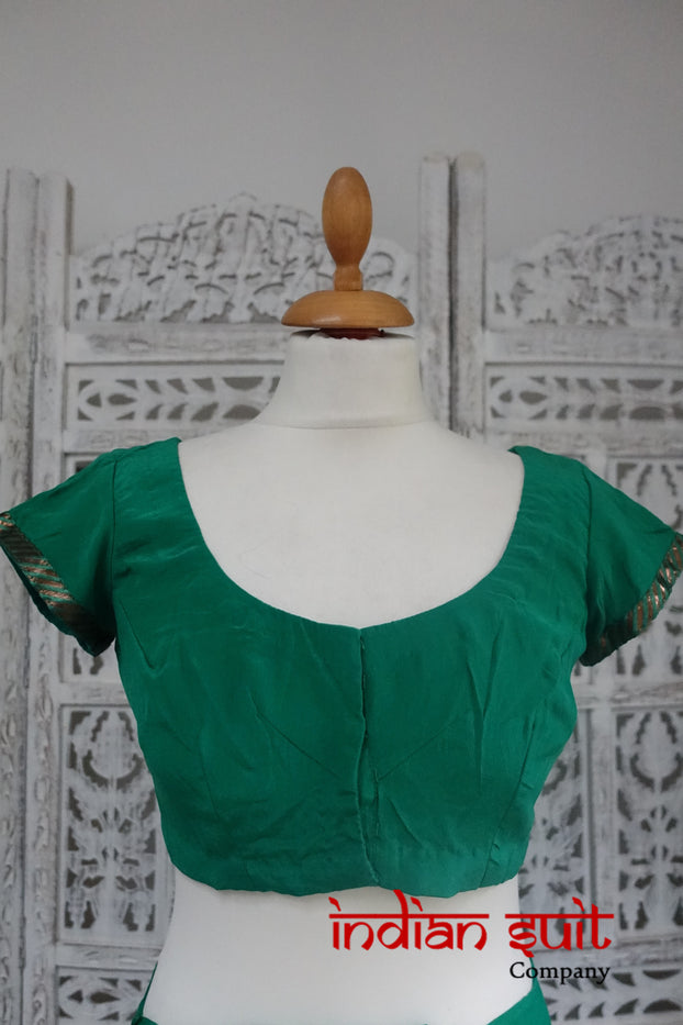 Green Silk & Antique Gold Sari + 34½ Blouse - Preloved - Indian Suit Company