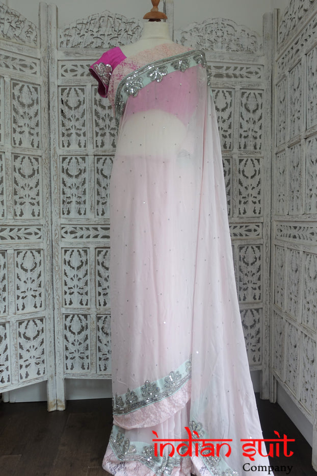 Pastel Pink, Mint Green & Lace Sari + 36½ Blouse - Preloved - Indian Suit Company