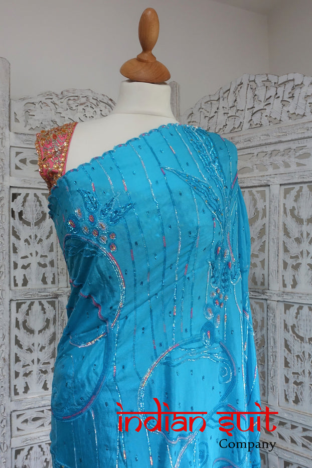 Blue & Pink Pure Silk Sari + 36 Inch Blouse - Preloved - Indian Suit Company
