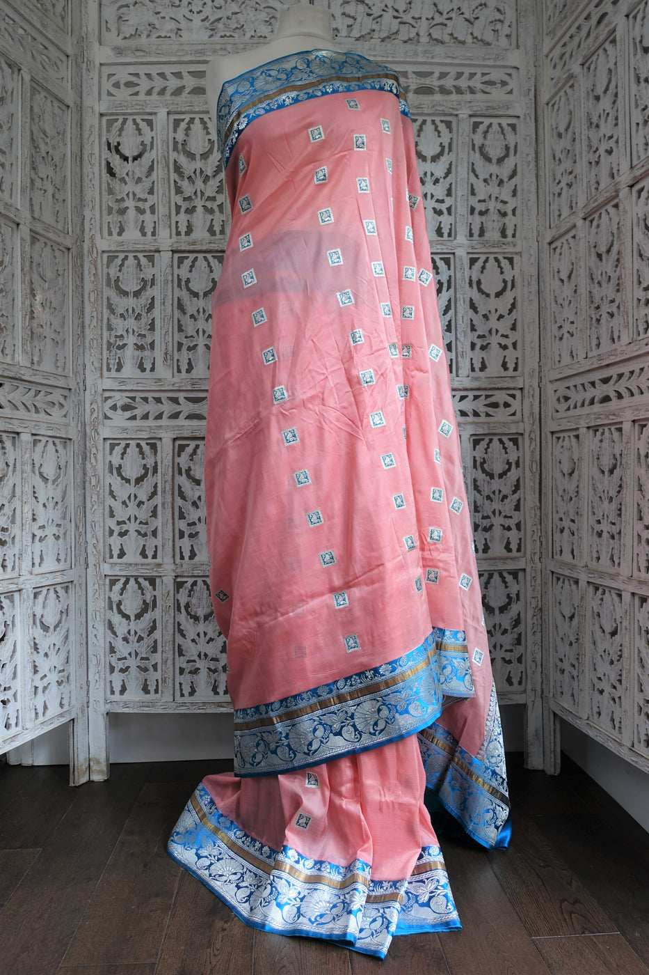 Peach Pure Silk Vintage Sari - Preloved