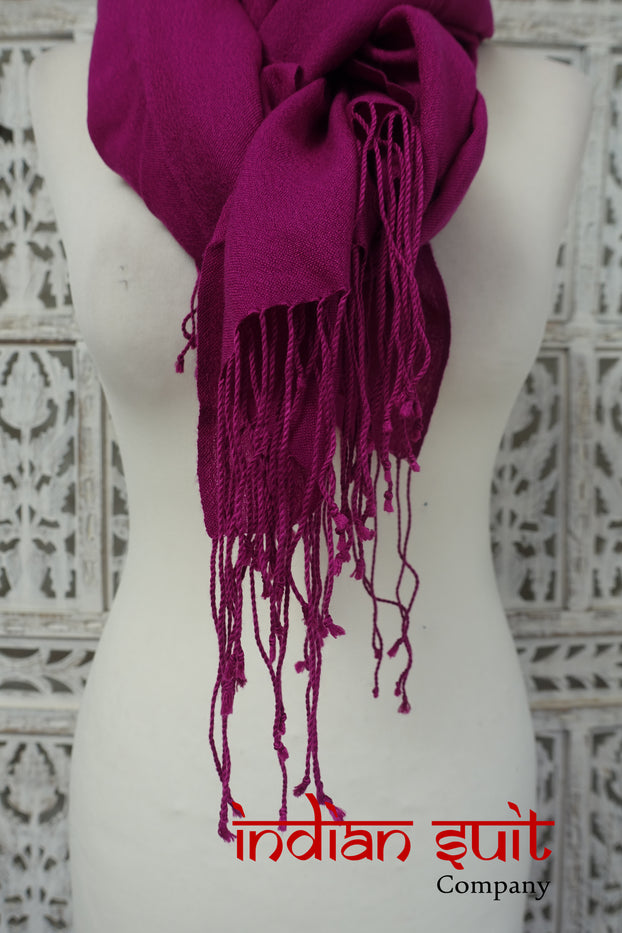 Soft Purple Soft Wool Blend Shawl With Twisted Fringe - Preloved - Indian Suit Company