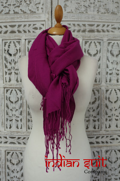 Soft Purple Soft Wool Blend Shawl With Twisted Fringe - Preloved